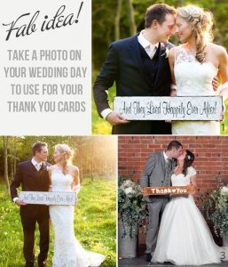 wedding couple pose with sign for thank you cards