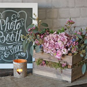 wooden crate wedding centrepiece - lovely small wooden box for flowers on the tables