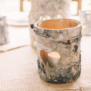 wooden tree bark tea light holders for woodland inspired weddings