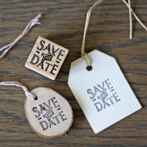 woodland wedding save the date on small tree slice gift tag