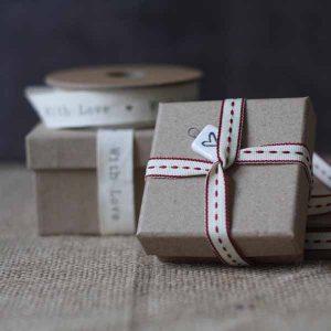 brown card wedding favour box