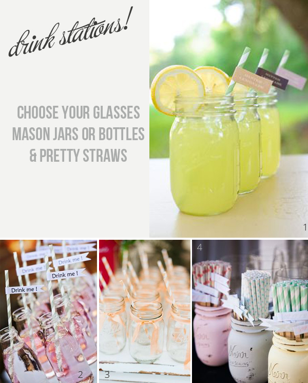 drink stations at weddings choose your glasses mason jars bottles and straws