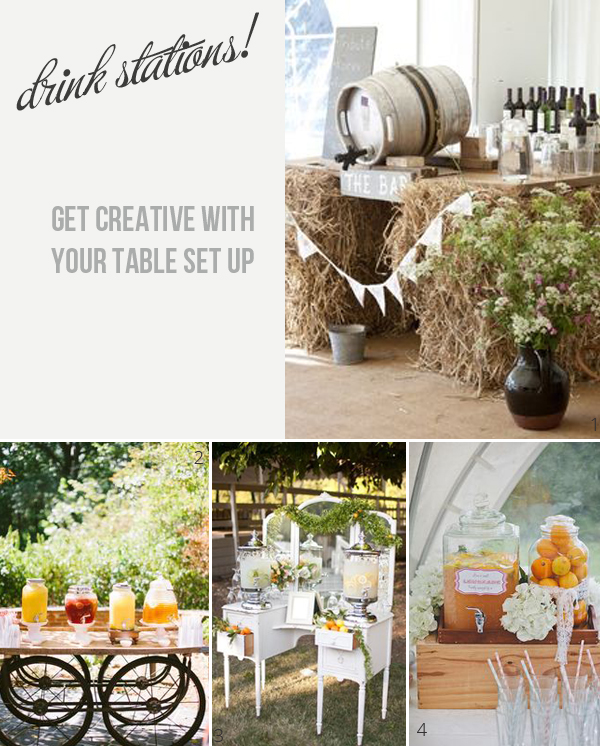drink stations at weddings get create with your tables