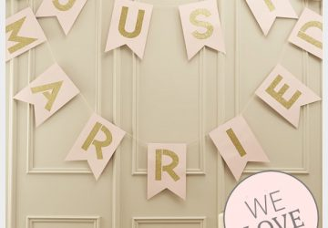 just married bunting pink and gold glitter wedding decorations