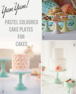 stands coloured cake plates for wedding cakes and dessert tables
