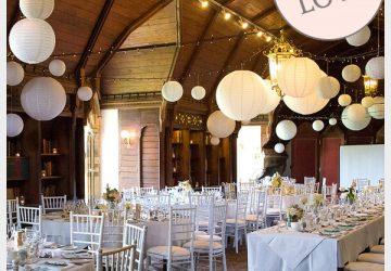 white paper lanterns hanging wedding decorations