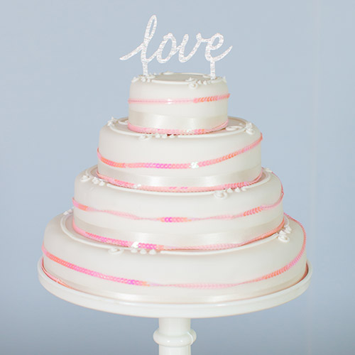silver glitter love wedding cake topper marks & spencer wedding cakes