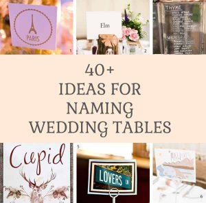 40 + ideas for naming wedding tables