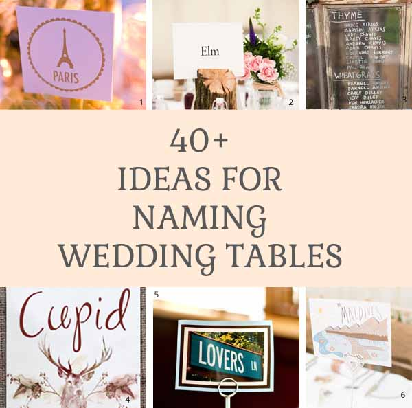 40 ideas for naming wedding tables