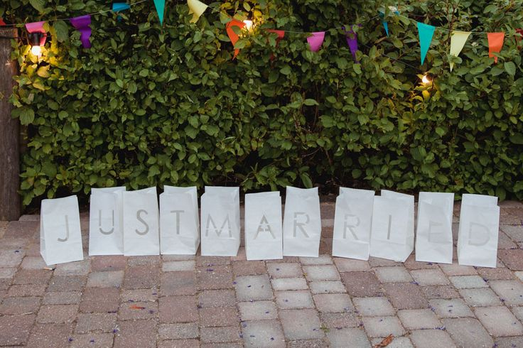 Just Married sign from paper lanterns - rustic barn wedding decorations