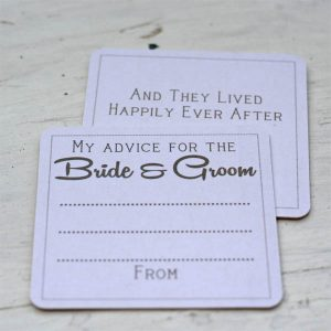 advice for the birdes and groom coasters alternative wedding guest book