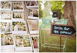 ask guests to pose for a polaroid photo at your wedding as use as an alternative guest book