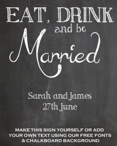 eat drink and be married free chalkbaord printable