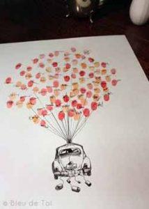 fingerprint canvas - wedding guest book ideas