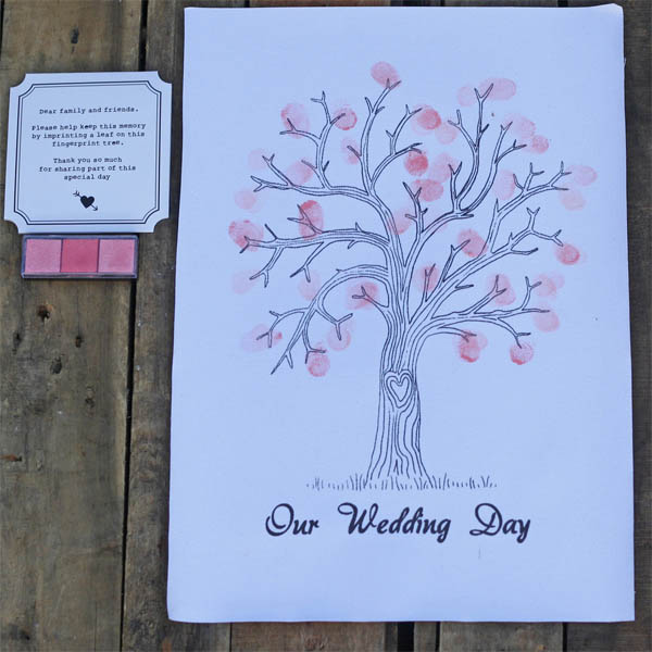fingerprint tree canvas alternative wedding guest bok