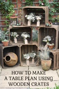 how to make a wedding table plan using wooden crates