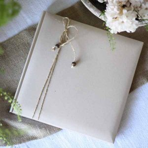 linen guest book with twine