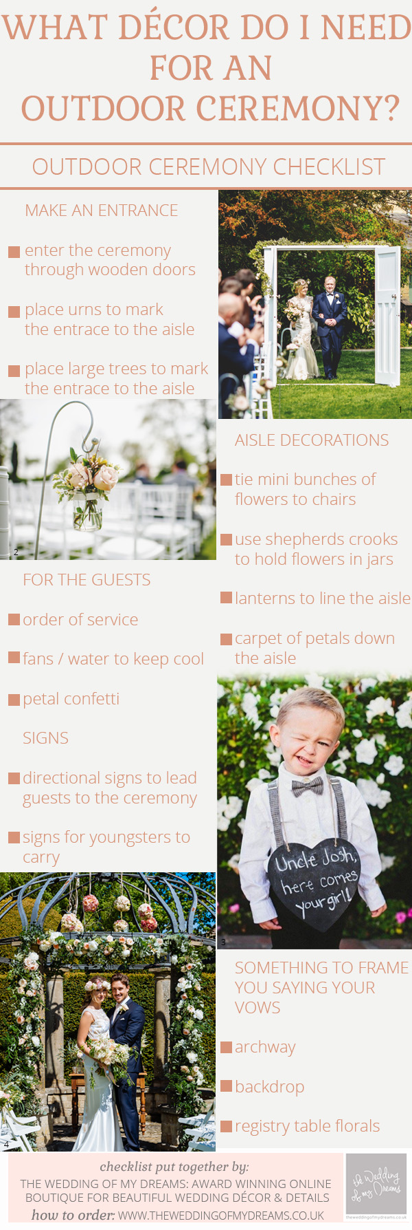 outdoor wedding ceremony decorations checklist