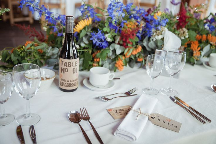 rustic table number stickers for wine bottle persolasied with name of couple - rustic barn wedding decorations