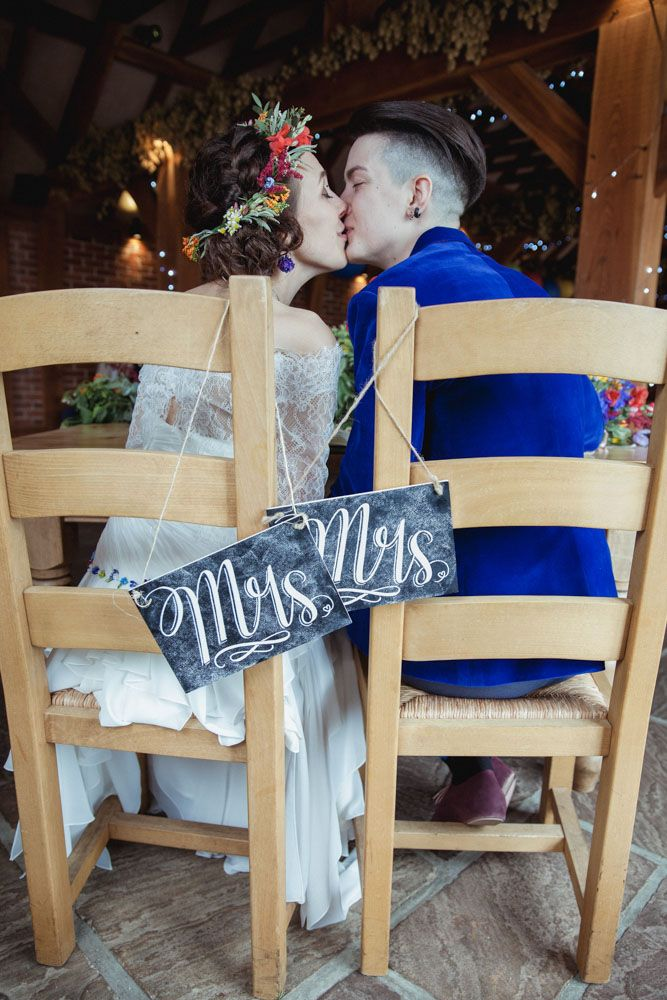 same sex wedding chalkboard mrs & mrs signs - rustic barn wedding decorations