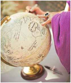 sign a globe travel themed wedding guest book ideas
