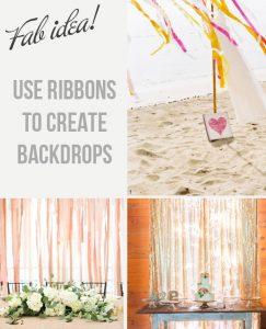 use ribbon backdrops at weddings