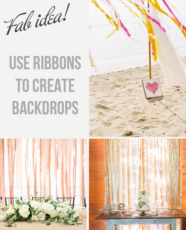 use ribbon backdrops at weddings