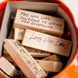 wedding guest book ideas - sign jenga pieces
