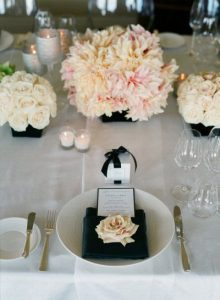 pink black wedding table decorations