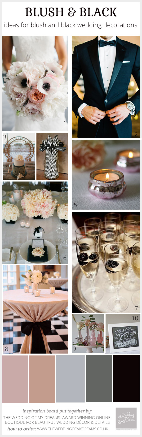 blush pink and black wedding inspiration and decorations