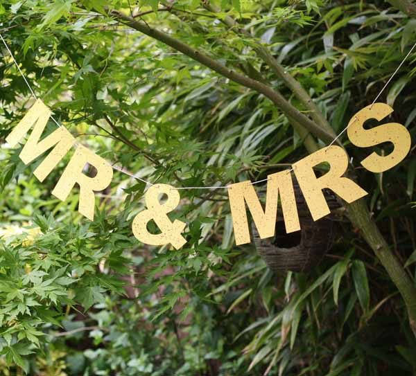 gold glitter mr and mrs bunting