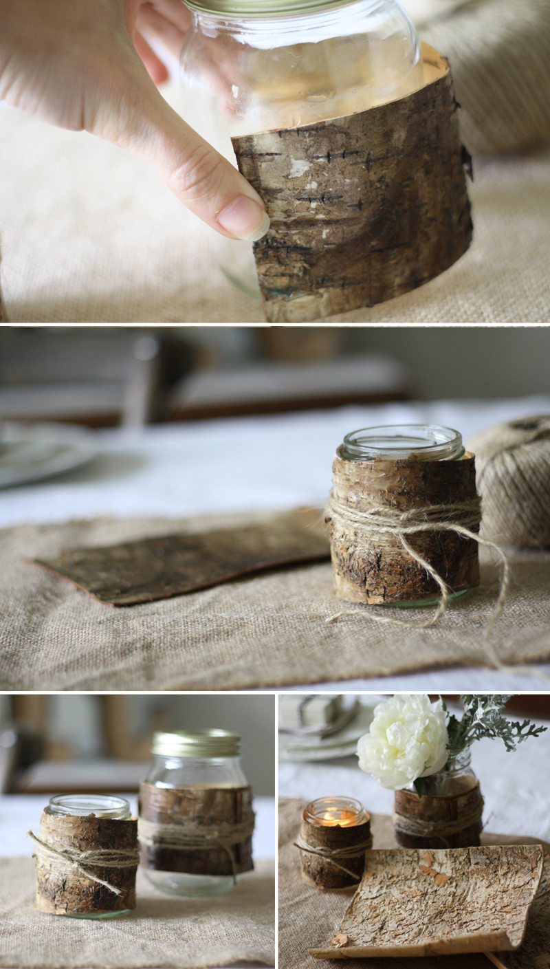 how to make bark covered tea light holders and bark vases step by step guide 2