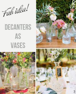 pressed glass decanters wedding centrepiece vases