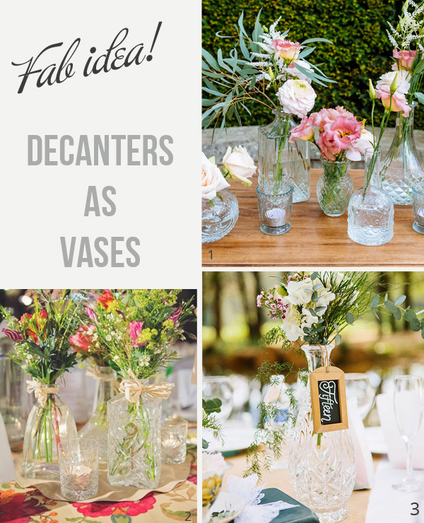 pressed glass decanters wedding centrepiece vases