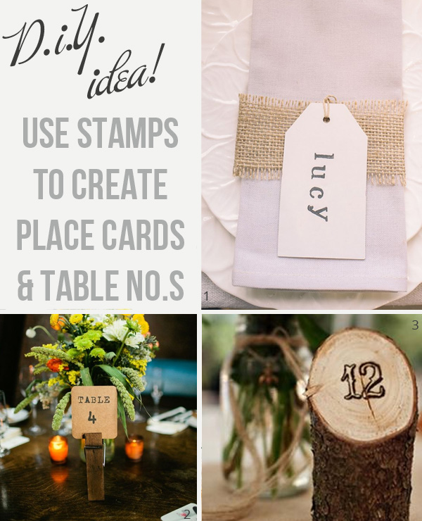 using stamps for wedding place cards and table numbers