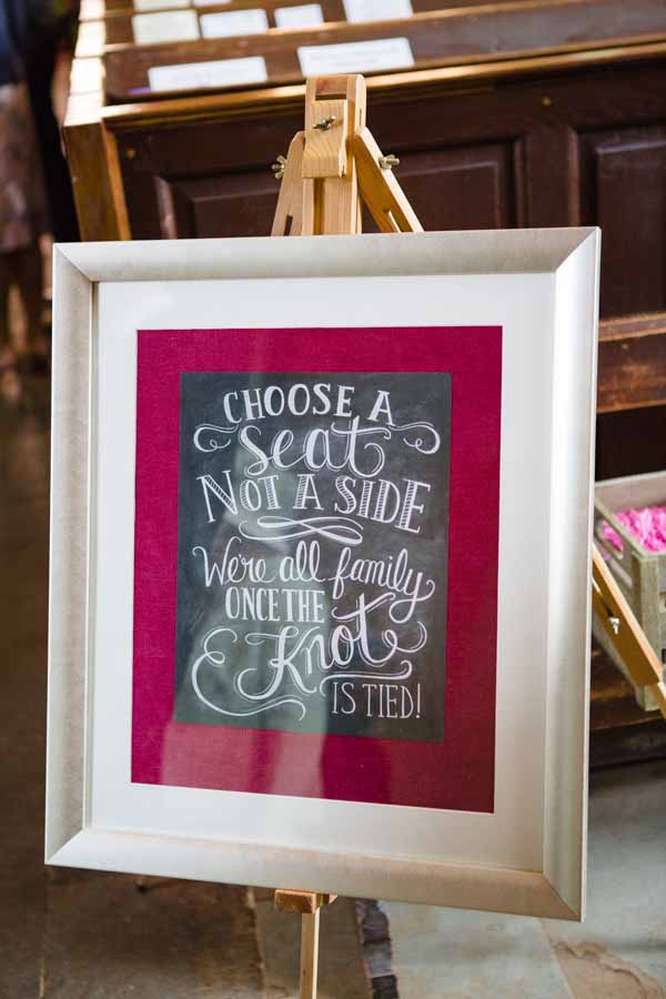 Choose A Seat Not A Side Chalkboard Signs For Ceremony Real Wedding at Aynhoe Park
