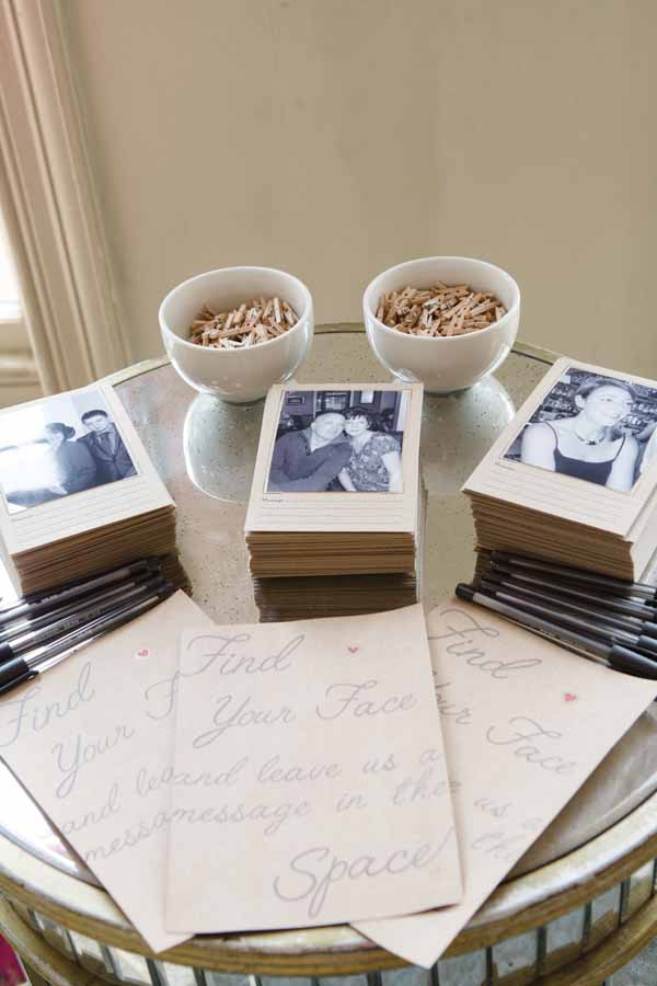 Great idea for a wedding wuest book, leave Polaroid photos of all your guests ask them to find their photos and leave you a not (2)