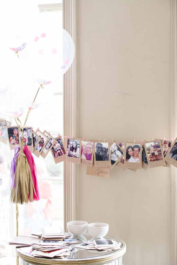 Great idea for a wedding wuest book, leave Polaroid photos of all your guests ask them to find their photos and leave you a not (5)