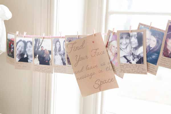 Great idea for a wedding wuest book, leave Polaroid photos of all your guests ask them to find their photos and leave you a note (1)