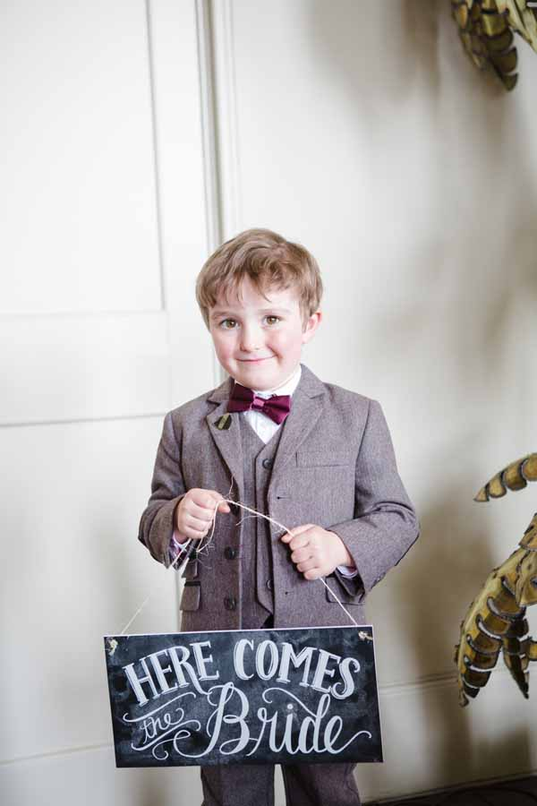 Here Comes The Bride Sign For Ringer Bearer Page Boy Real Wedding at Aynhoe Park  (3)