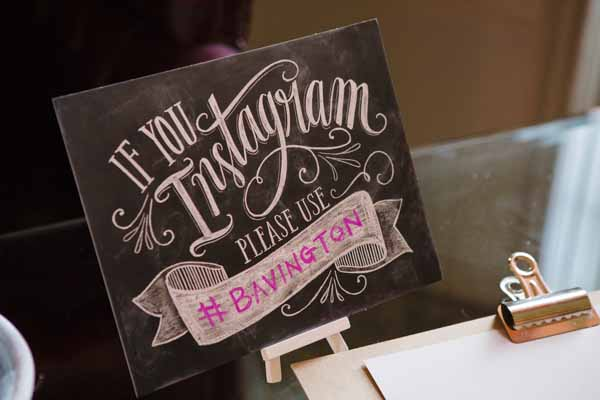 Instagram Hashtag wedding sign chalkboard style used at real wedding at Aynhoe Park