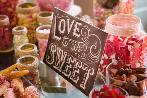 Love Is Sweet Chalkbaord Calligraphy Wedding Sign For Candy Buffet - Real Wedding at Aynhoe Park