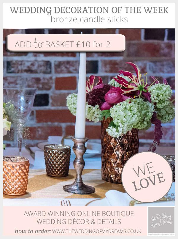bronze candle sticks wedding decorations