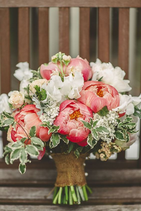 coral wedding bouquet coral charm peonies