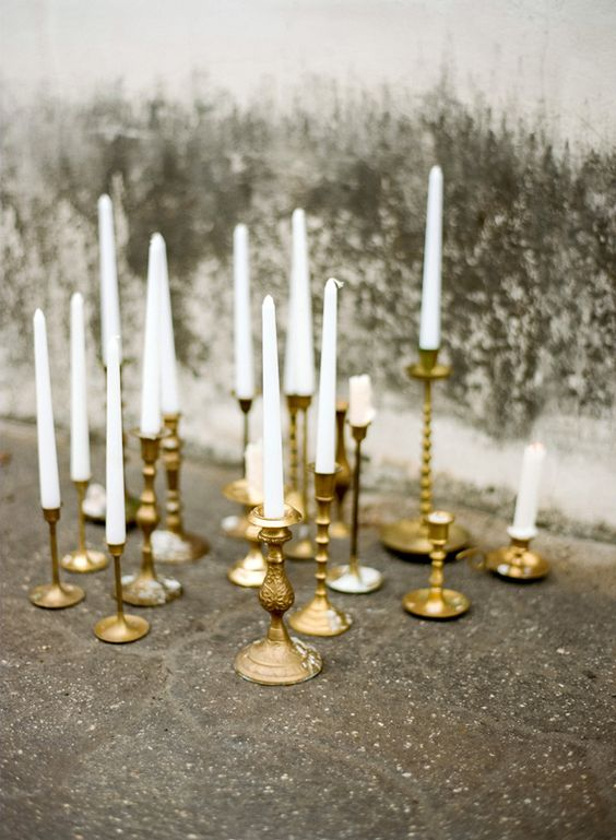 gold candlesticks wedding decorations styling