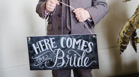 here comes the bride chalbaord sign