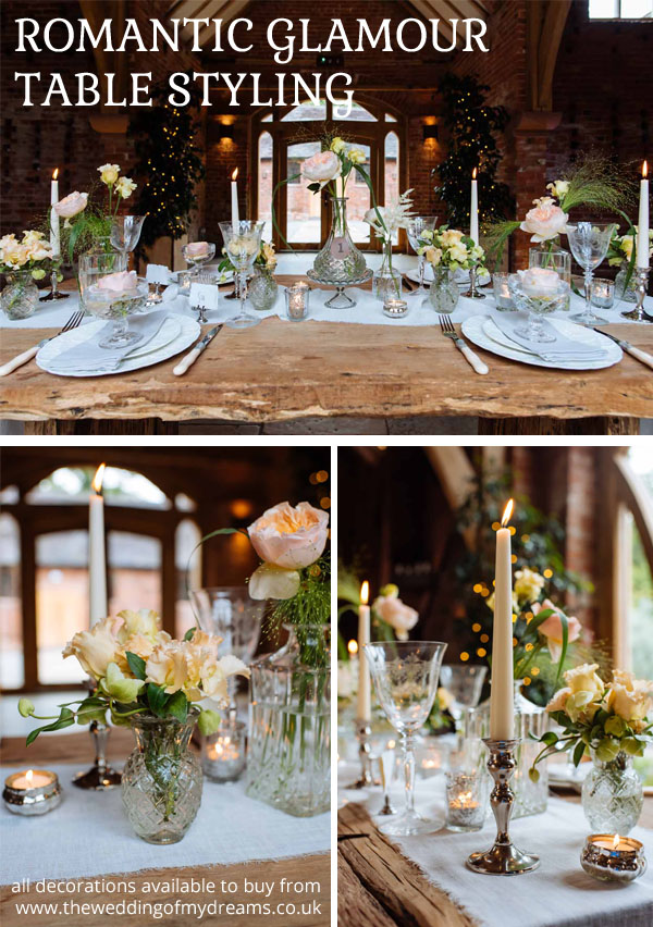 romantic glamour wedding table styling all decorations available to buy from the wedding of my dreams