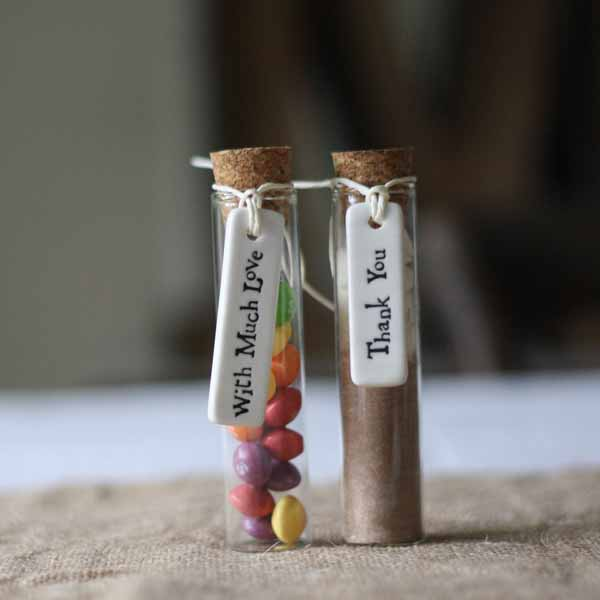 test tube wedding favours with cork stoppers  - featured in top 10 wedding favour bags boxes and bottles