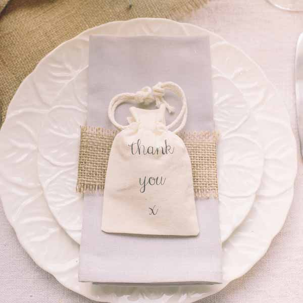 thank you cotton favour bags  - featured in top 10 wedding favour bags boxes and bottles