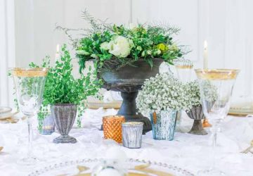 charcoal grey urn wedding centrepieces with copper candle sticks and tea light holders - industrail wedding table decorations (1)